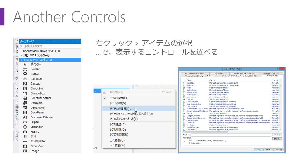 Another Controls 右クリック > アイテムの選択 …で、表示するコントロールを...