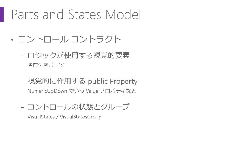 Parts and States Model • コントロール コントラクト − ロジックが使...