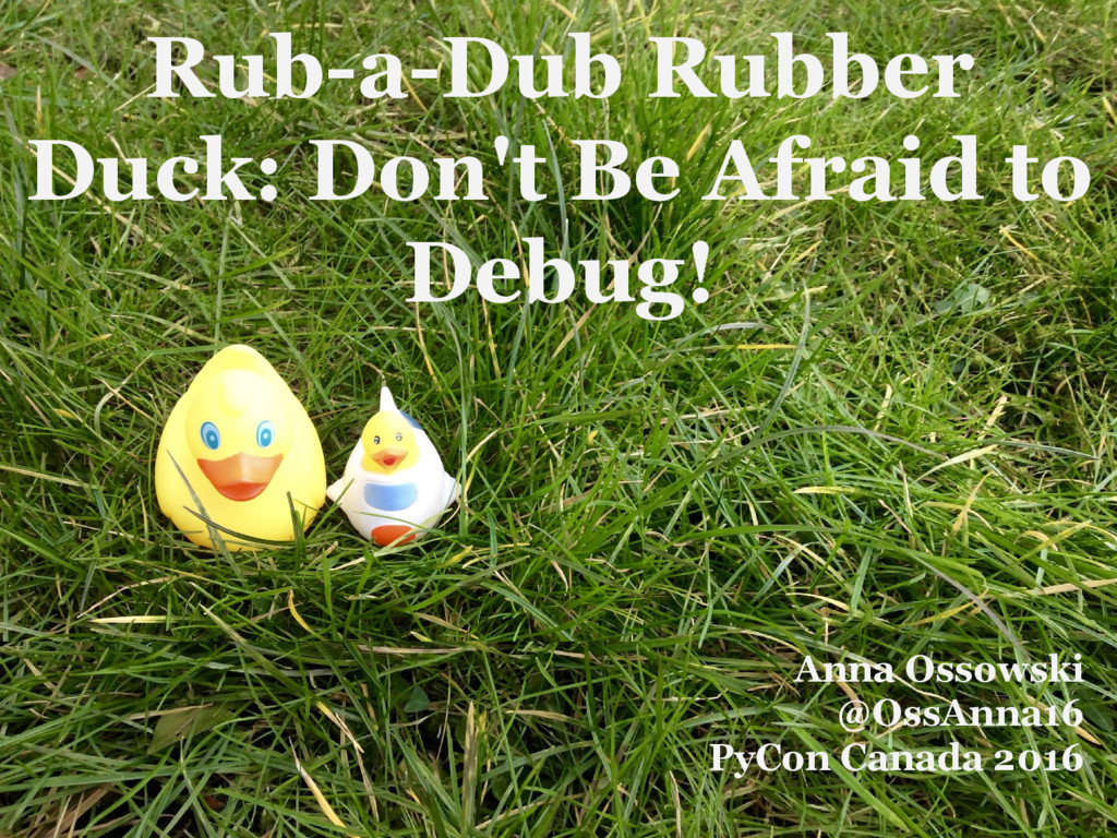 Rub-a-Dub Rubber Duck: Don't Be Afraid to Debug...