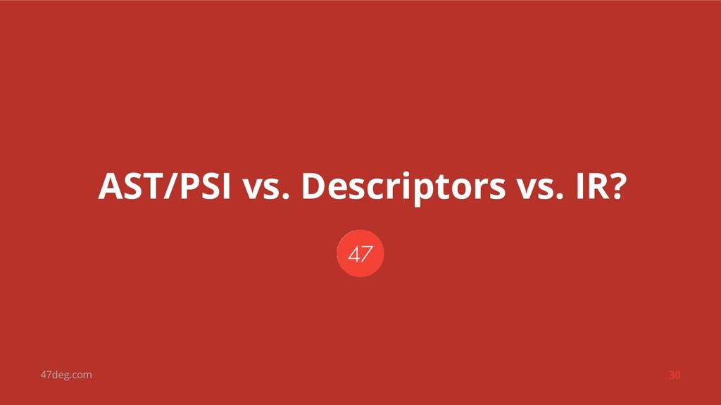 47deg.com 30 AST/PSI vs. Descriptors vs. IR?