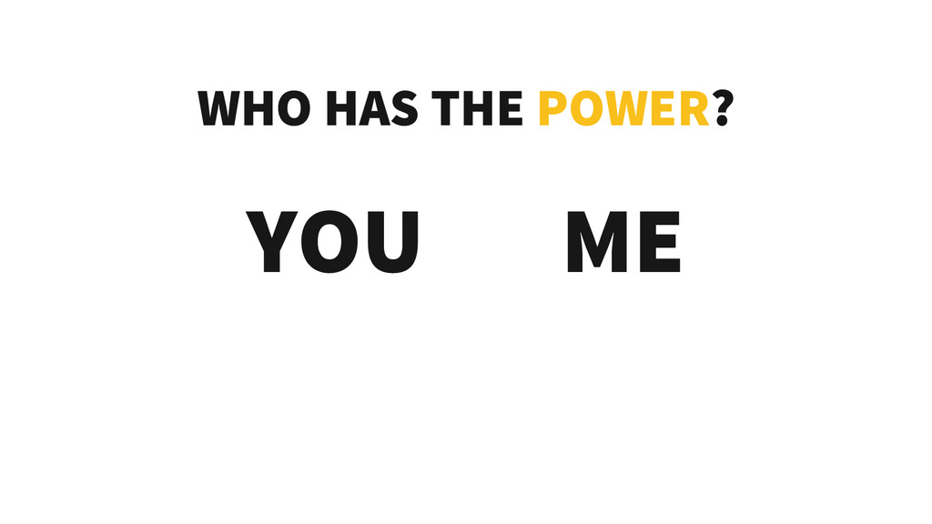 WHO HAS THE POWER? YOU ME