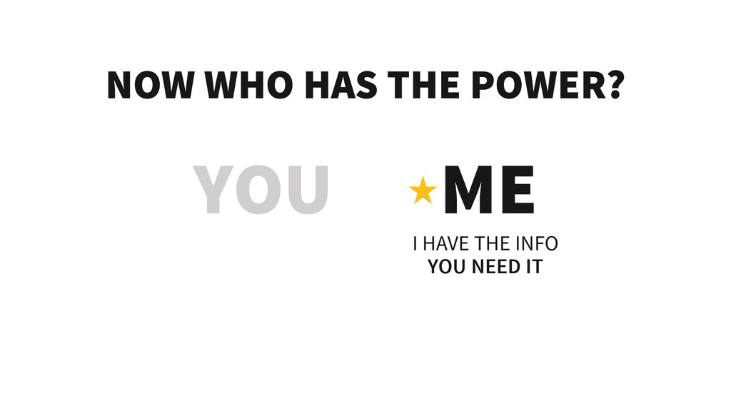 NOW WHO HAS THE POWER? YOU ME I HAVE THE INFO Y...