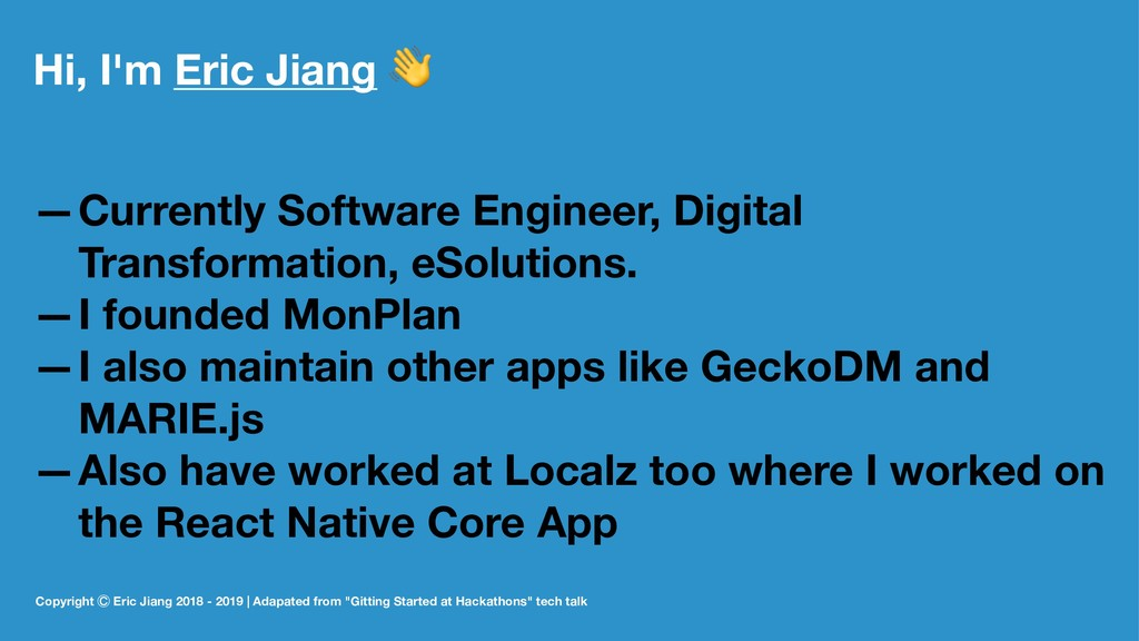 Hi, I'm Eric Jiang ! —Currently Software Engine...