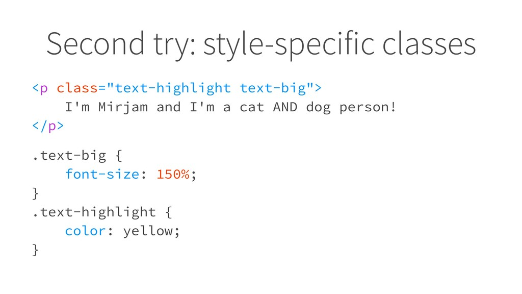 "Second try: style-specific classes <p class=""te..."