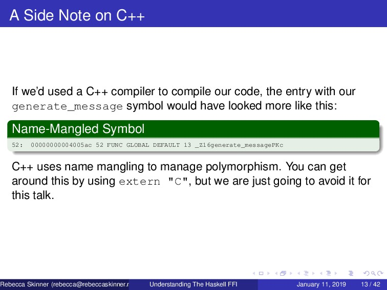 A Side Note on C++ If we'd used a C++ compiler ...