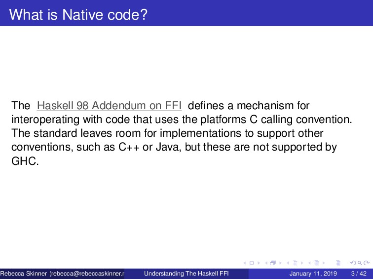 What is Native code? The Haskell 98 Addendum on...