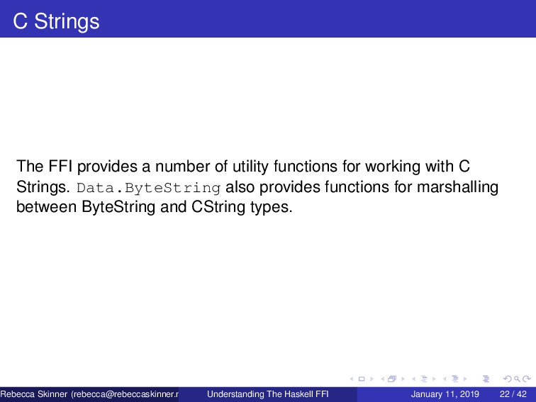 C Strings The FFI provides a number of utility ...