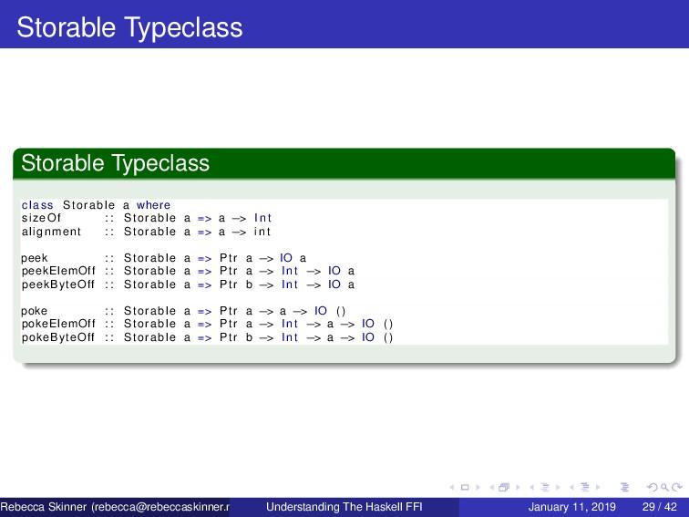 Storable Typeclass Storable Typeclass class Sto...