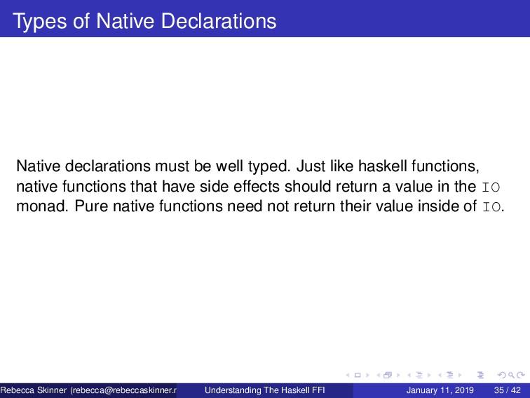 Types of Native Declarations Native declaration...