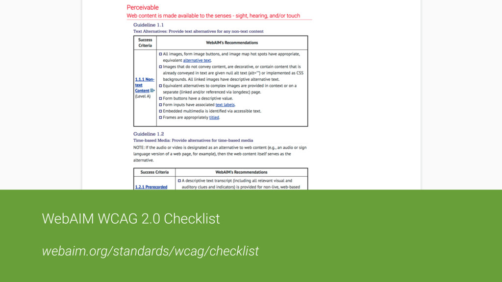 WebAIM WCAG 2.0 Checklist webaim.org/standards/...