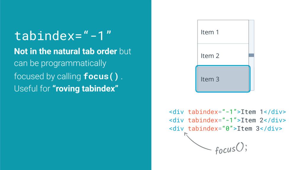 "tabindex=""-1"" <div tabindex=""-1"">Item 1</div> <..."