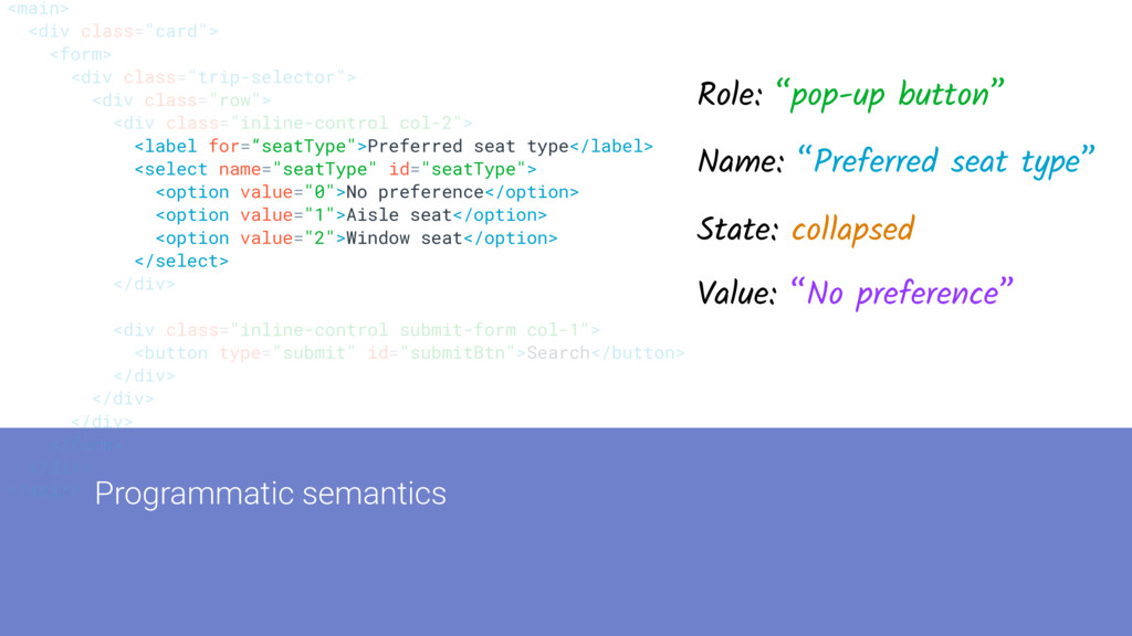 "Programmatic semantics <main> <div class=""card""..."