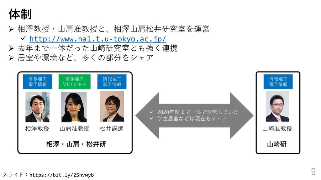 スライド:https://bit.ly/2Shvwyb 9 体制 ➢ 相澤教授・山肩准教授と、...