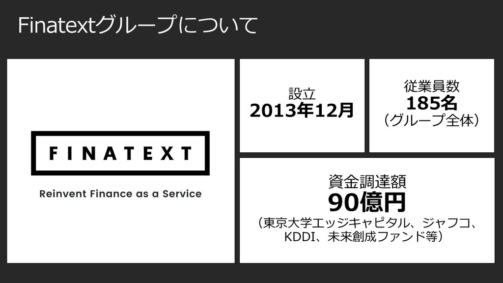 Finatextグループについて 資⾦調達額 90億円 (東京⼤学エッジキャピタル、ジャフコ、...