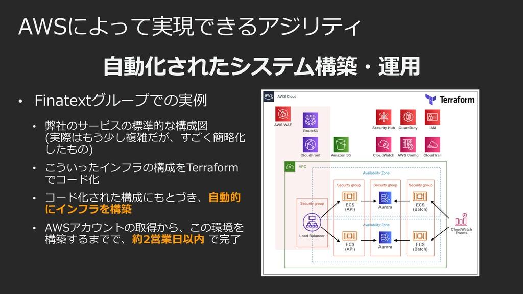 AWSによって実現できるアジリティ ⾃動化されたシステム構築・運⽤ • Finatextグルー...