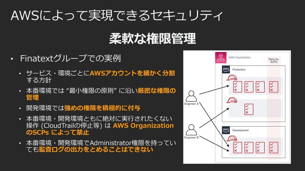 AWSによって実現できるセキュリティ 柔軟な権限管理 • Finatextグループでの実例 •...