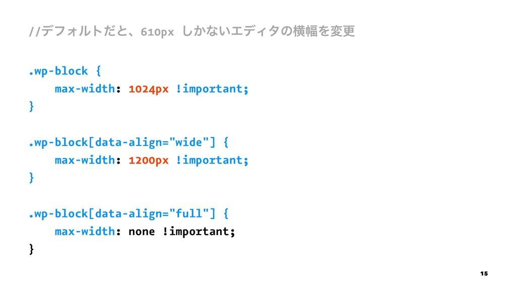 //σϑΥϧτͩͱɺ610px ͔͠ͳ͍ΤσΟλͷԣ෯Λมߋ .wp-block { max-...