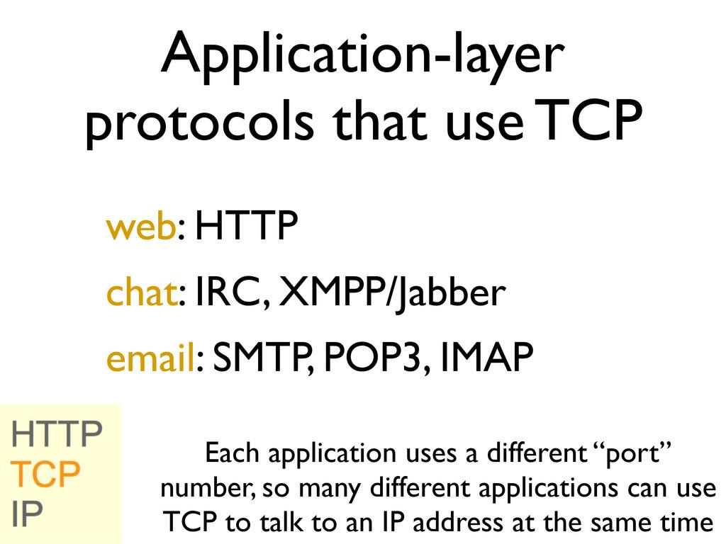 Application-layer protocols that use TCP web: H...