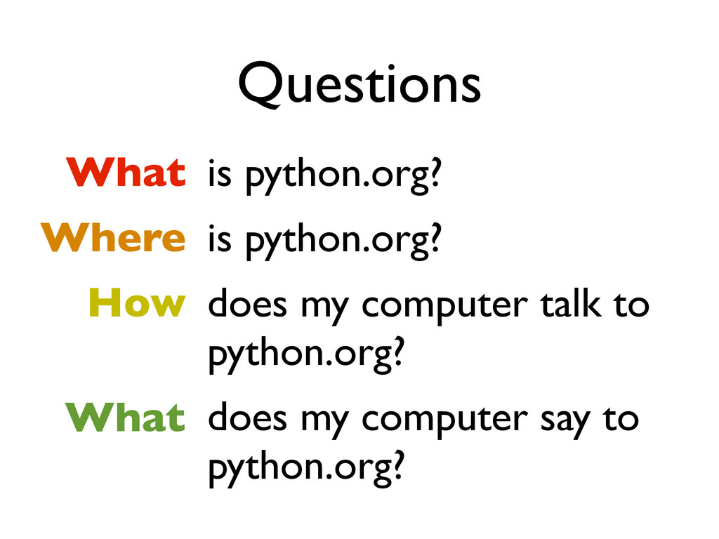 Questions What Where How is python.org? is pyth...
