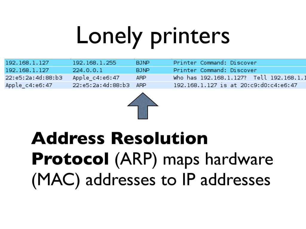Lonely printers Address Resolution Protocol (AR...