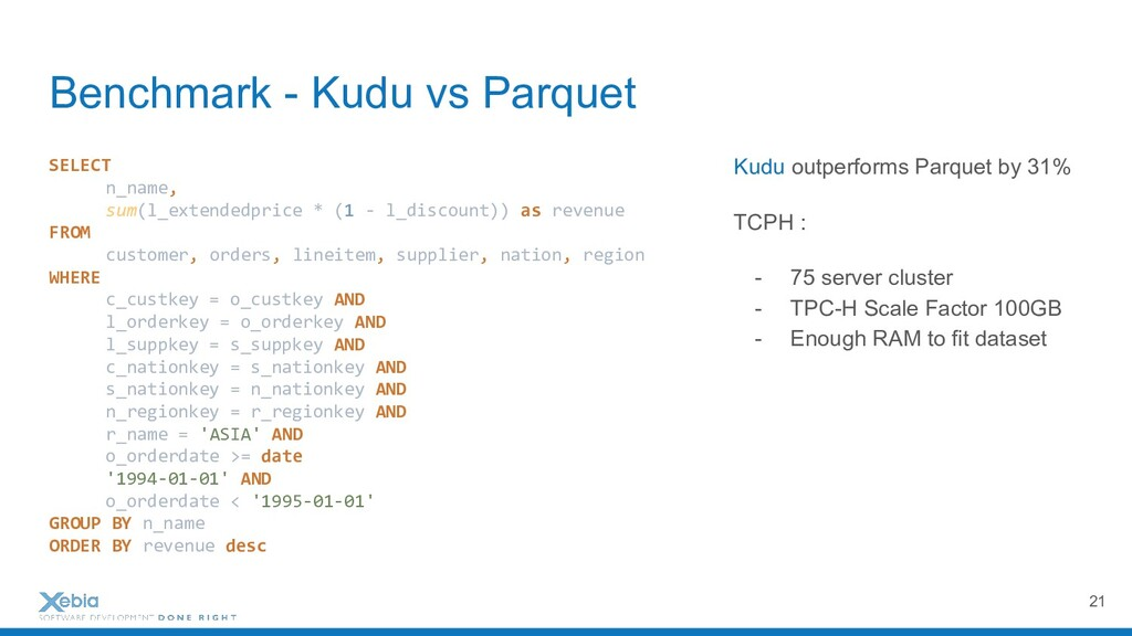 Benchmark - Kudu vs Parquet 21 SELECT n_name, s...
