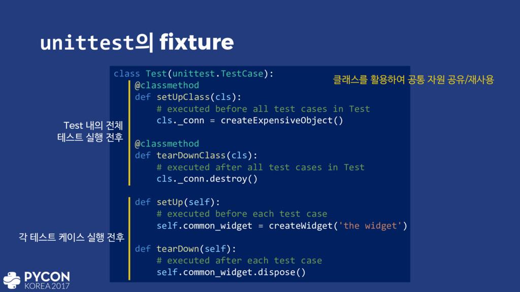 unittest fixture class Test(unittest.TestCase)...
