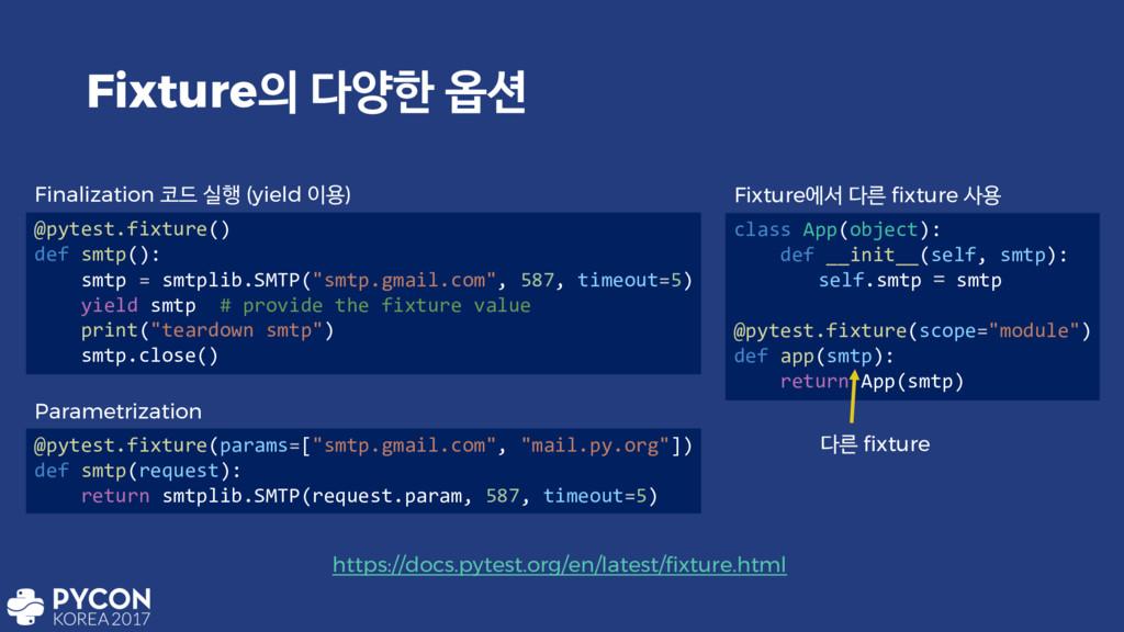 Fixture নೠ ২ @pytest.fixture() def smtp(): s...