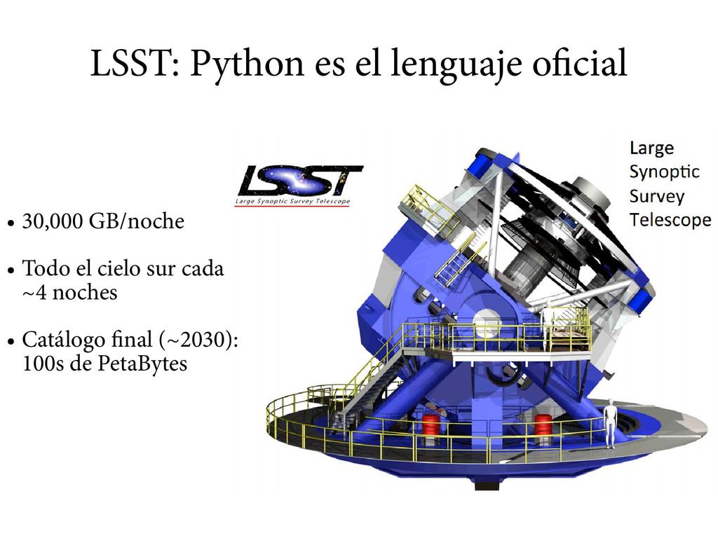 LSST: Python es el lenguaje oficial ● 30,000 GB...