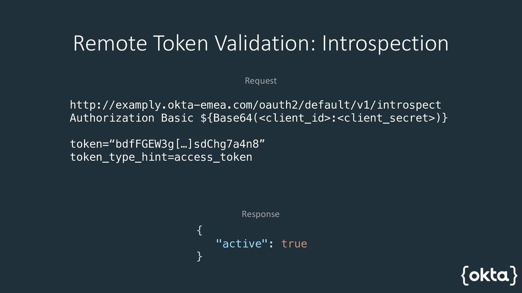 Remote Token Validation: Introspection http://e...