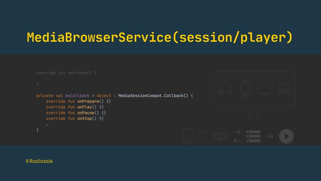 MediaBrowserService(session/player) override fu...