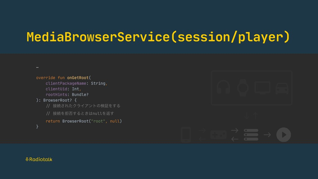 MediaBrowserService(session/player) …  override...
