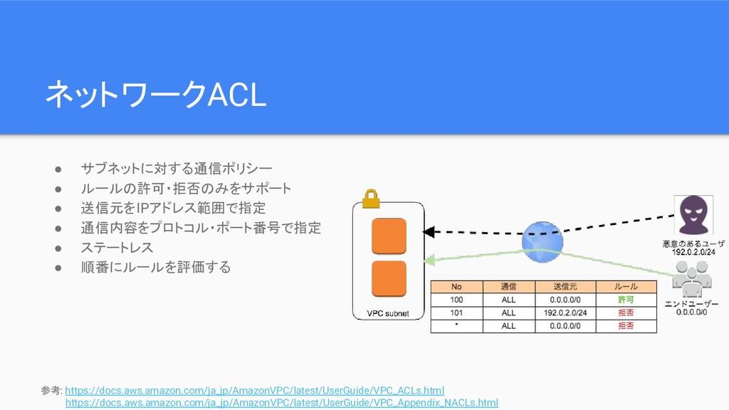 ネットワークACL ● サブネットに対する通信ポリシー ● ルールの許可・拒否のみをサポート ...