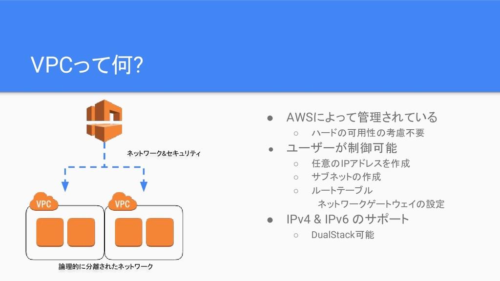 VPCって何? ネットワーク&セキュリティ 論理的に分離されたネットワーク ● AWSによって...