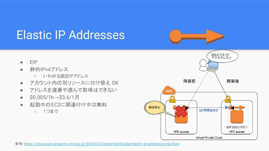 Elastic IP Addresses ● EIP ● 静的IPv4アドレス ○ いわゆる固...