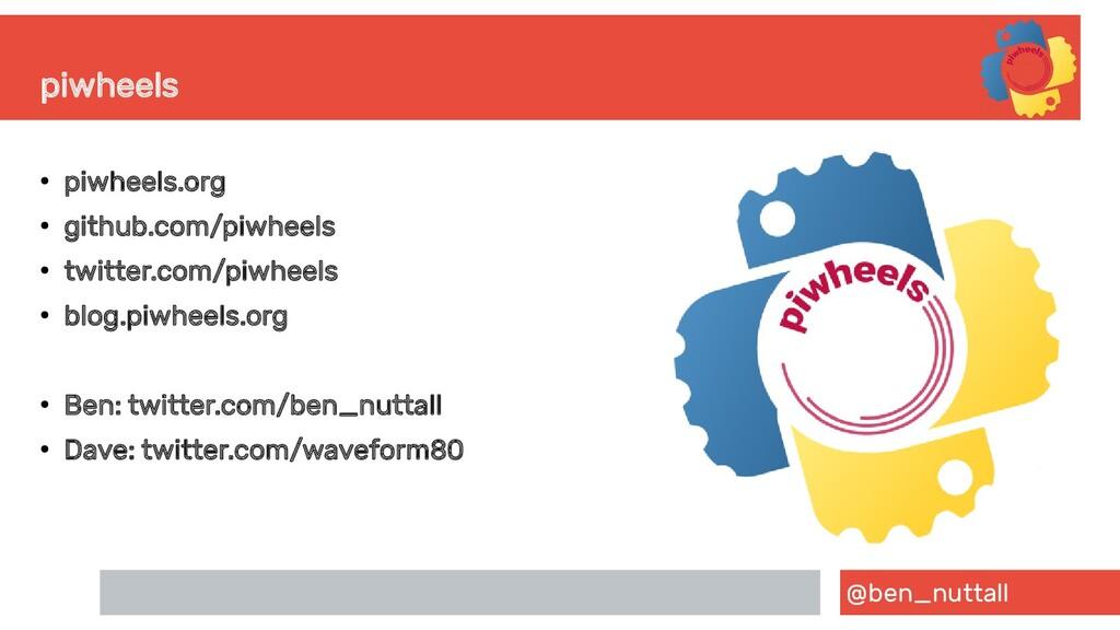 @ben_nuttall piwheels ● piwheels.org ● github.c...