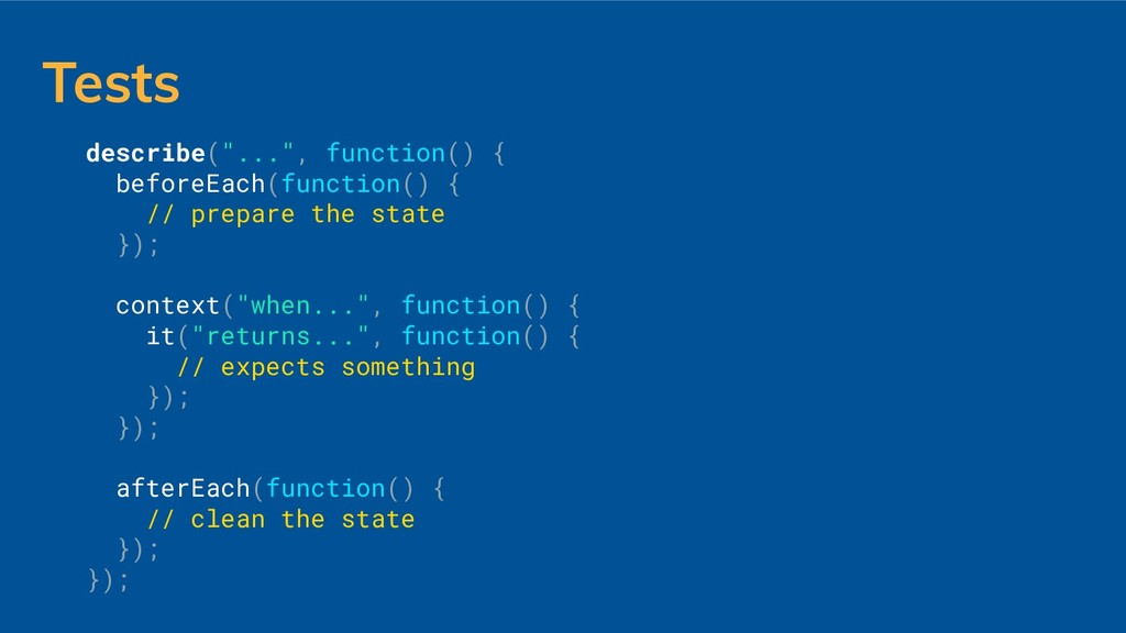 """Tests describe(""""..."""", function() { beforeEach(f..."""