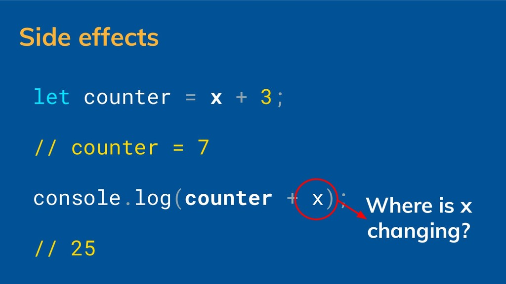let counter = x + 3; // counter = 7 console.log...