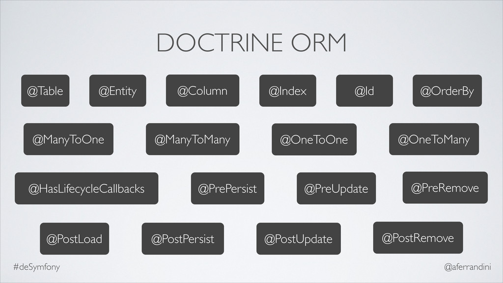 DOCTRINE ORM @Column @Entity @Index @Id @OrderB...