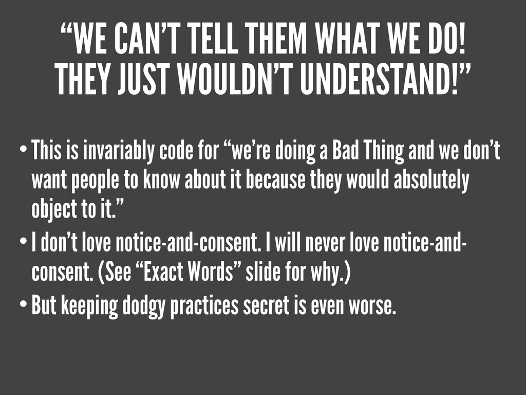 """THOSE PESKY ETHICS, ALWAYS GETTING IN THE WAY ..."