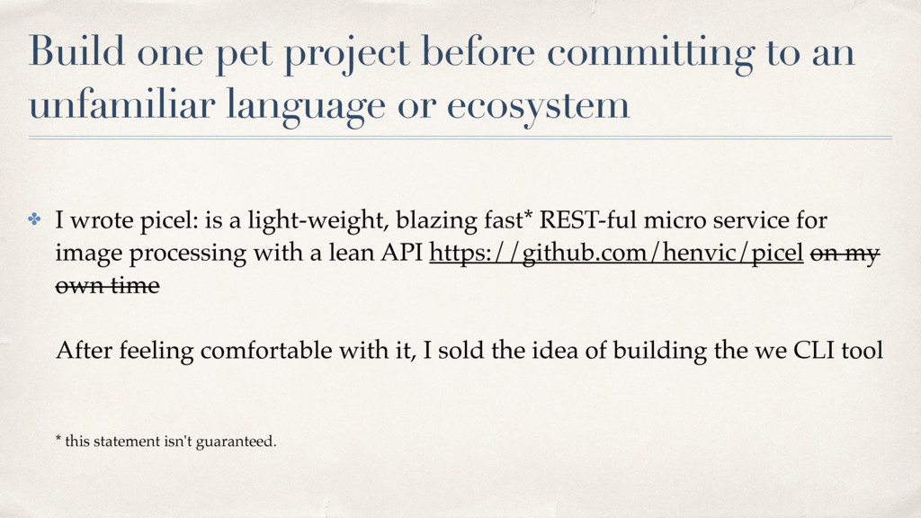 Build one pet project before committing to an u...