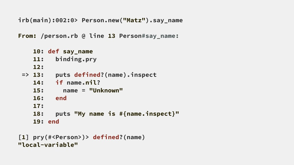 "irb(main):002:0> Person.new(""Matz"").say_name Fr..."