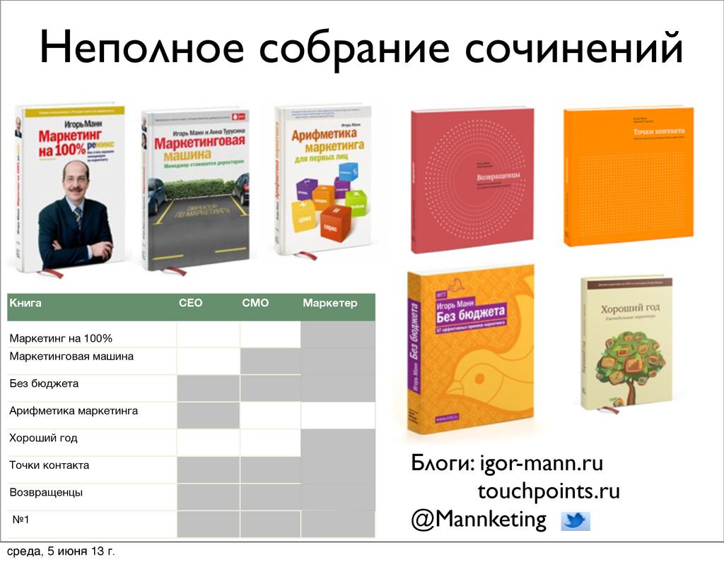 Неполное собрание сочинений Блоги: igor-mann.ru...
