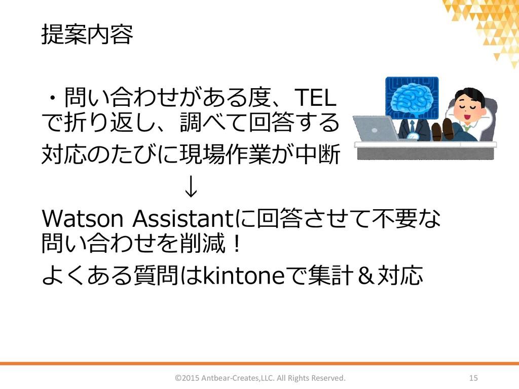 提案内容 ・問い合わせがある度、TEL で折り返し、調べて回答する 対応のたびに現場作業が中断...