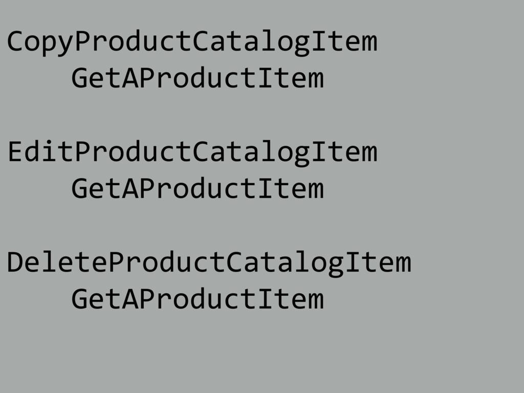 CopyProductCatalogItem GetAProductItem EditProd...