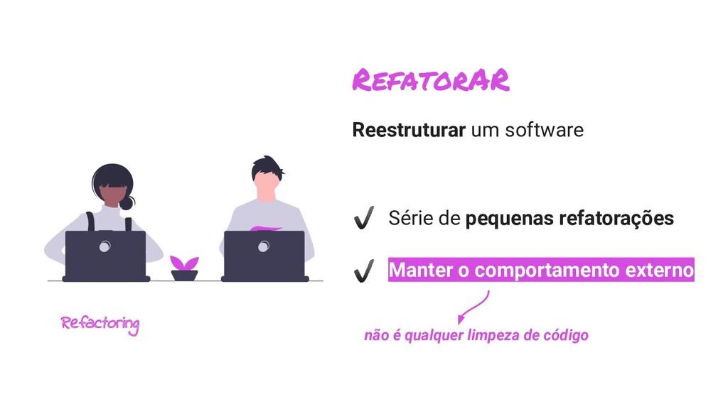 Reestruturar um software Série de pequenas refa...