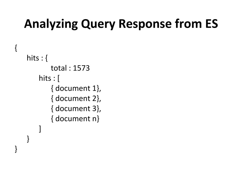 Analyzing Query Response from ES ...