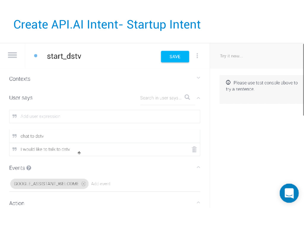 Create API.AI Intent- Startup Intent