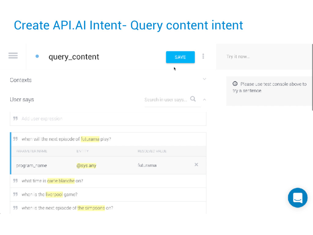 Create API.AI Intent- Query content intent