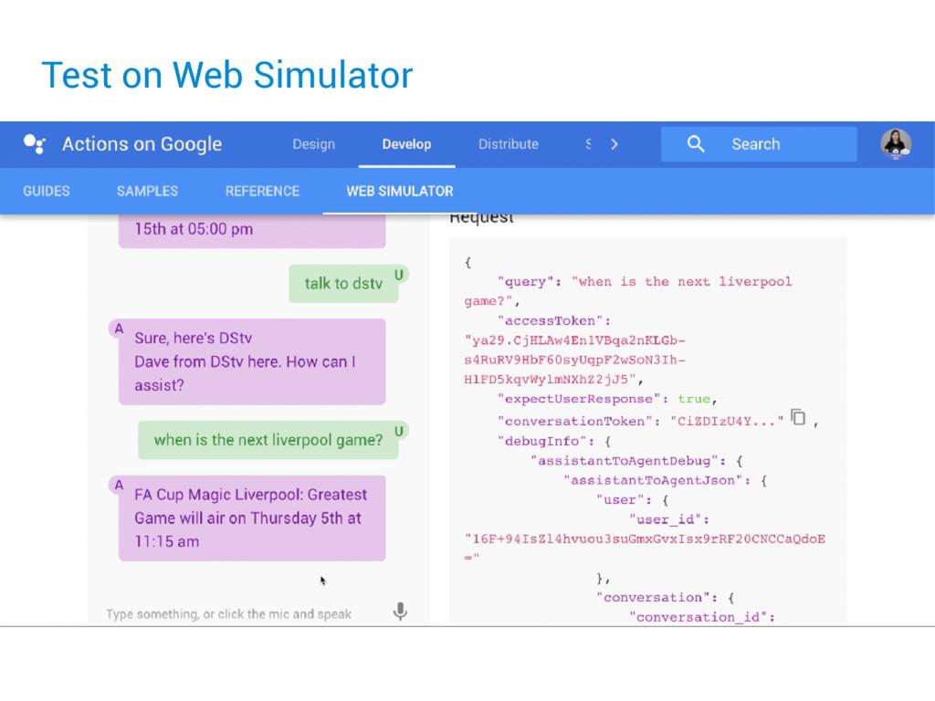 Test on Web Simulator
