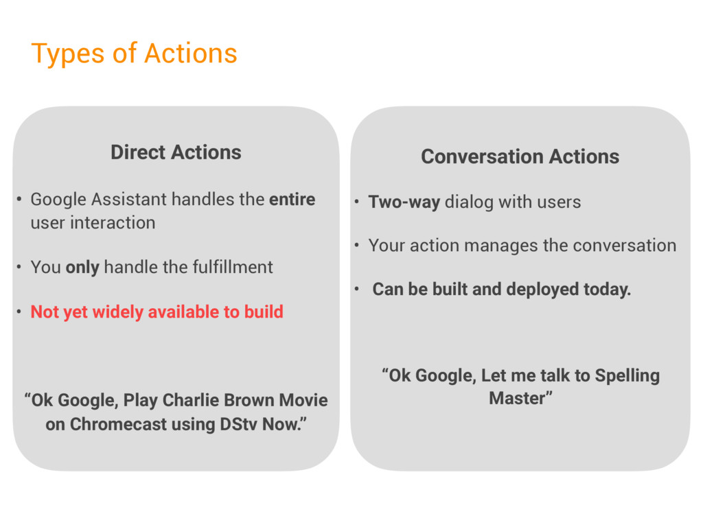 Direct Actions • Google Assistant handles the e...